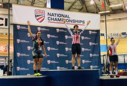 Zoe Saccio (right) on the podium. Photo by Laura Saccio